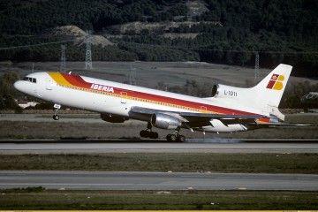 L-1011 alquilado por Iberia, aterrizando en el aeropuerto Madrid Barajas