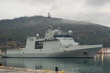 """El BAM """"Audaz"""" (P-45), a su llegada esta mañana al arsenal de Cartagena"""