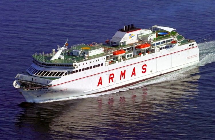 "Estampa marinera del ferry ""Volcán de Tamasite"""