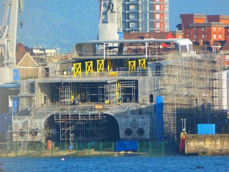 Estado en el que se encuentra, a día de hoy, la construcción del nuevo catamarán de Balearia