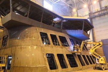 Sección prefabricada del puente de mando y parte de la superestructura