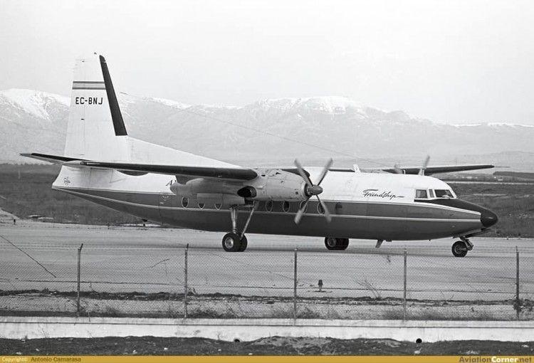El avión Fokker F-27 EC-BNJ, en su etapa con Spantax