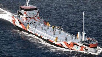 Aspecto externo del proyecto de gabarra eléctrica de Asahi Tanker