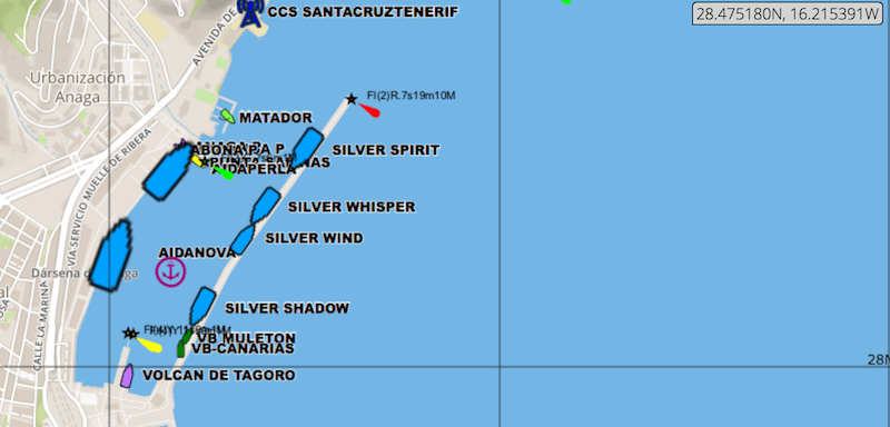 Situación de los buques de Silversea Cruises y Aida Cruises