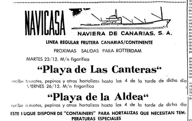 """Anuncio de Naviera de Canarias publicado en """"El Eco de Canarias"""" (noviembre de 1969)"""