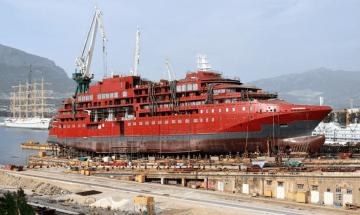 """El buque """"Ultramarine"""", preparado para su botadura"""