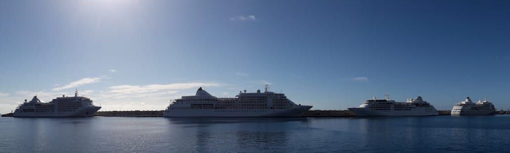 Los cuatro buques de Silversea Cruises, atracados en el muelle Sur