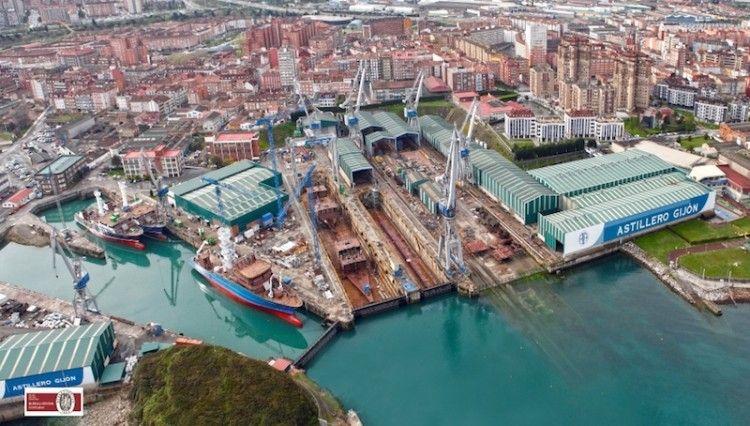 Panorámica de Astilleros Armón, factoría de Gijón