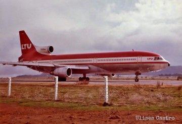 L-1011 Tristar de LTU D-AERA rodando en Tenerife Norte (1975)