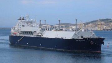 """El buque metanero """"Gaslog Warsaw"""", a su llegada a la ría de Ferrol"""