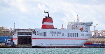 """El buque """"Super-Fast Baleares"""", en una escala en el puerto de Cádiz"""
