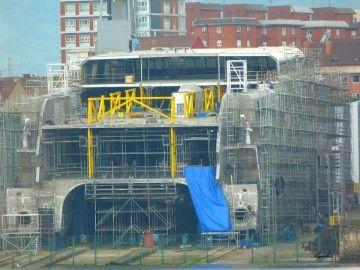 La imagen permite apreciar el avance en la construcción del catamarán de Balearia