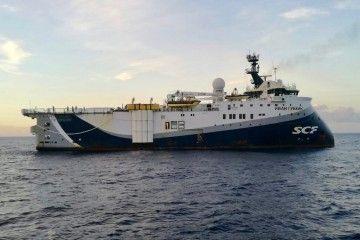 """El buque sísmico ruso """"Ivan Gubkin"""", en el antepuerto tinerfeño"""