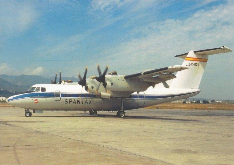 Estampa aeronáutica del avión DHC-7 de Spantax EC-DCB