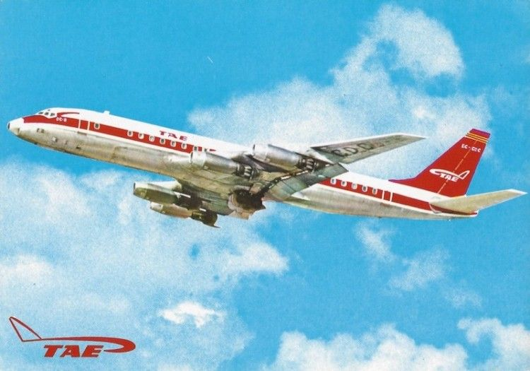 Postal del avión Douglas DC-8-33 de TAE (EC-CDC)