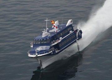 """El jet-foil """"Seven Island Yui"""", en sus pruebas de mar"""