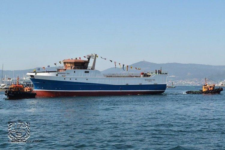 """El buque pesquero """"NovaNam Two"""", tras su puesta a flote"""