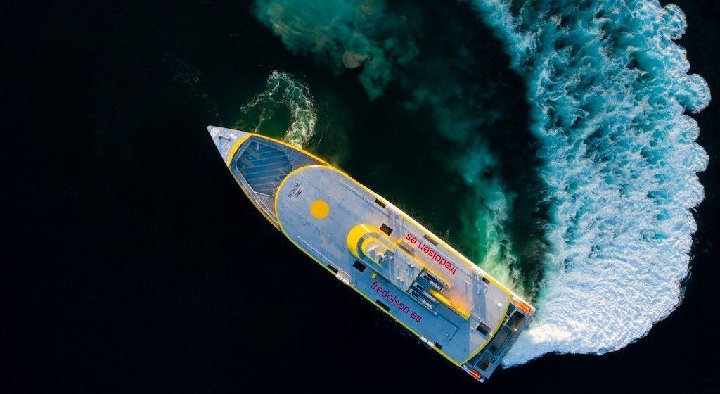 """El trimarán """"Bajamar Express"""", durante las pruebas de mar"""