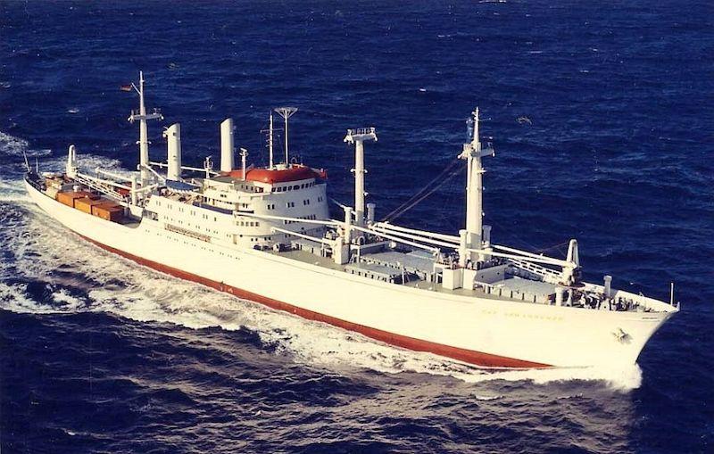 """El buque """"Cap San Diego"""", en su época alemana"""