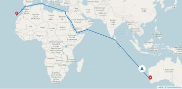 """Ruta que seguirá el trimarán """"Bajamar Express"""""""