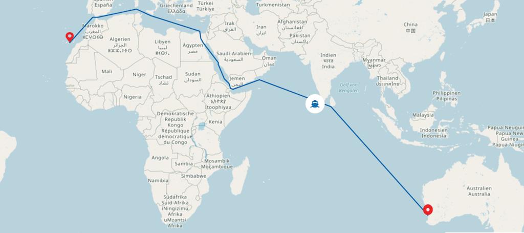 Itinerario del viaje y posición aproximada al día de hoy