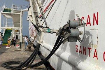 """Este es el dispositivo de conexión eléctrica con el ferry """"Volcán de Taburiente"""""""