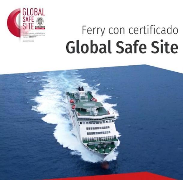 Todos los barcos de Naviera Armas Trasmediterránea lucen el logo Global Safe Site de BV