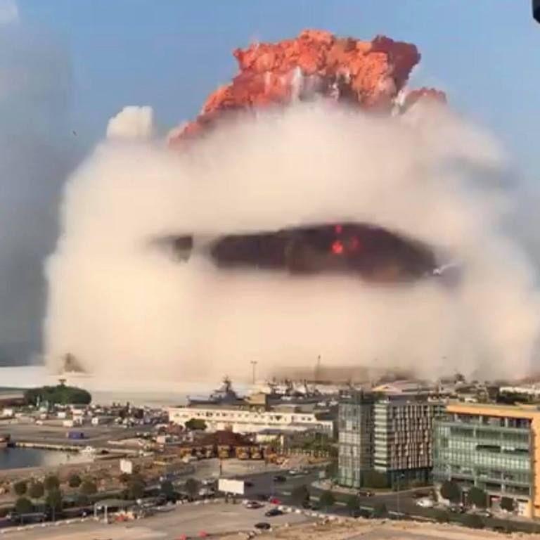 La impresionante explosión, en su momento crítico