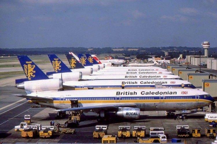 Aviones DC-10 de British Caledonian en el aeropuerto London Gatwick