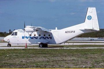 El avión CASA 212 Aviocar  de Boston-Maine Airways, pintado con la librea de la nueva Pan Am