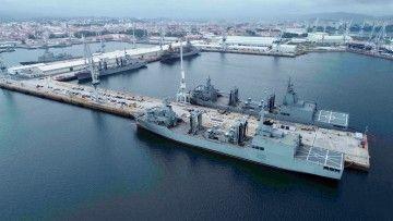 Panorámica aérea de los cuatro buques tipo AOR construidos por Navantia Ferrol