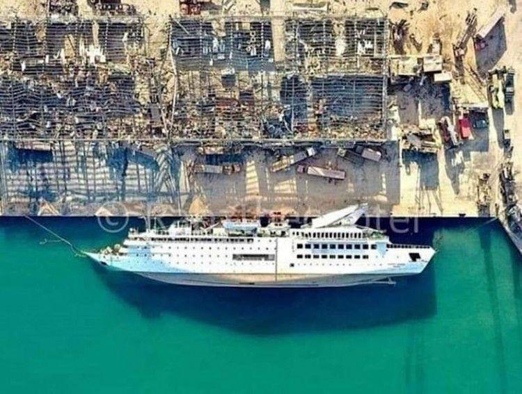 """La posición del buque """"Orient Queen"""", ex """"Vistamar"""", a vista de dron"""