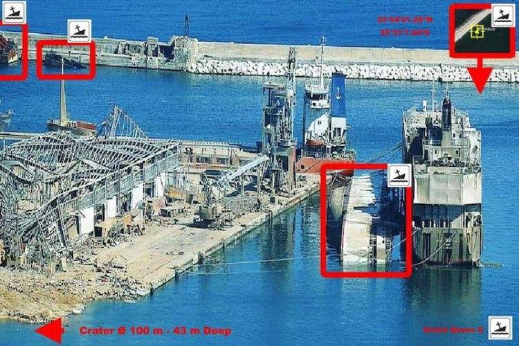 """En el cuadrado rojo, el buque """"Abou Karim I"""" hundido"""