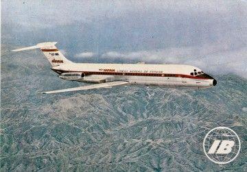 Postal de Iberia del avión Douglas DC-9
