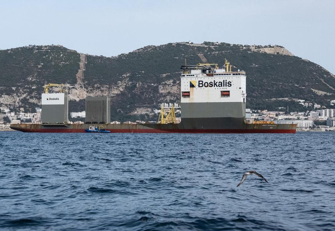 """El buque dique """"Boka Vanguard"""", al resguardo de Gibraltar"""