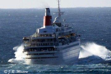 """El buque """"Boudicca"""", en una de sus salidas de la ría de A Coruña"""
