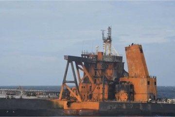 """Estado en el que ha quedado la sección de popa del petrolero """"New Diamond"""""""