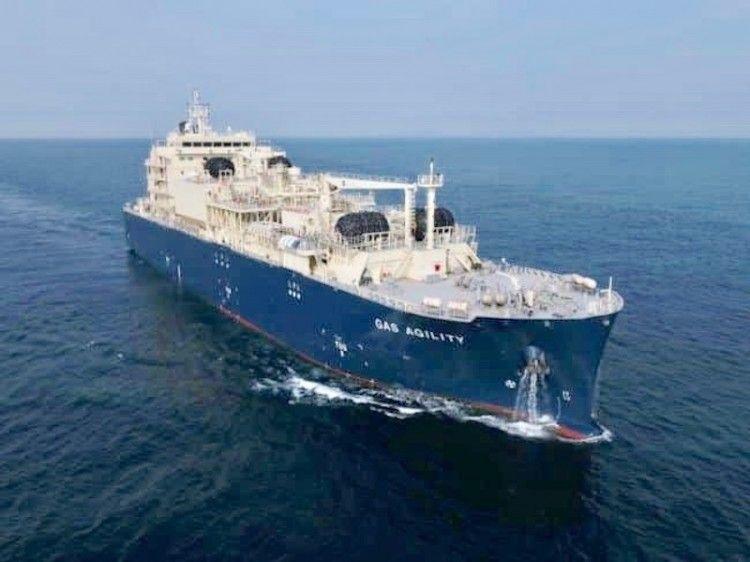 """Estampa marinera del buque LNG """"Gas Agility"""""""