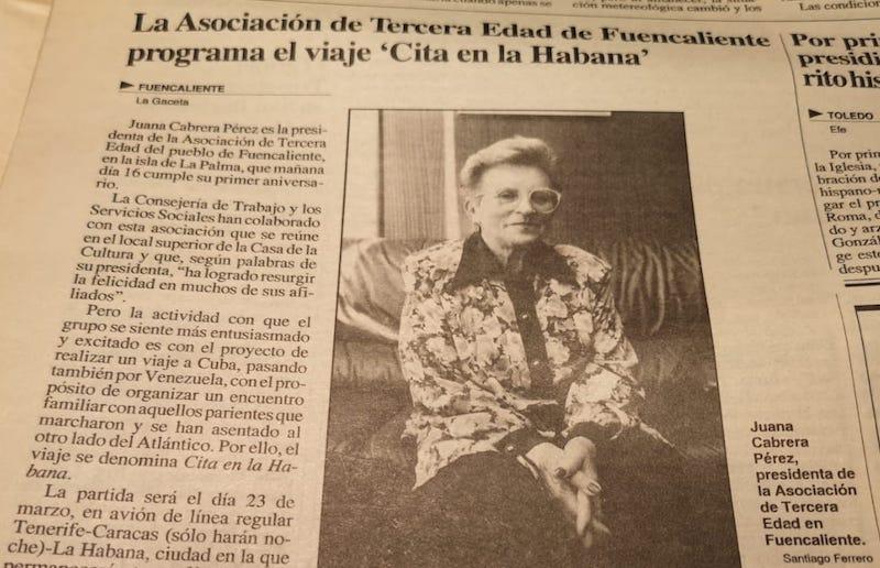La noticia del viaje a Cuba y Venezuela, en la prensa local tinerfeña