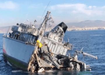 Estado en el que ha quedado el buque cazaminas griego