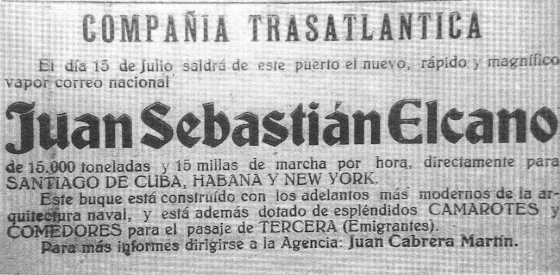 """Anuncio de la primera escala del trasatlántico """"Juan Sebastián Elcano"""" en La Palma"""
