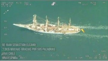 Imagen tomada desde un avión de la Fuerza Aérea de Chile