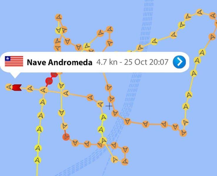 """Evolución del petrolero """"Nave Andromeda"""" en las últimas horas"""