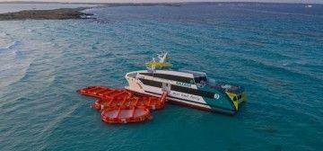 El catamarán está encallado intencionadamente para  evitar males mayores