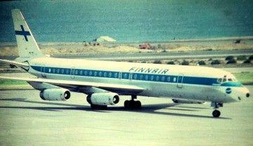 El avión Douglas DC-8 de Finnair OH-LFY, en el aeropuerto de Gran Canaria