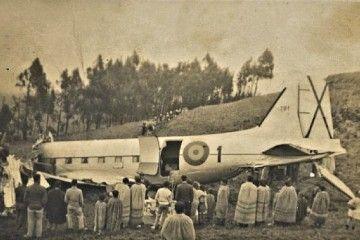 Estado en el que quedó el avión T.3 del Ejército del Aire accidentado en La Esperanza