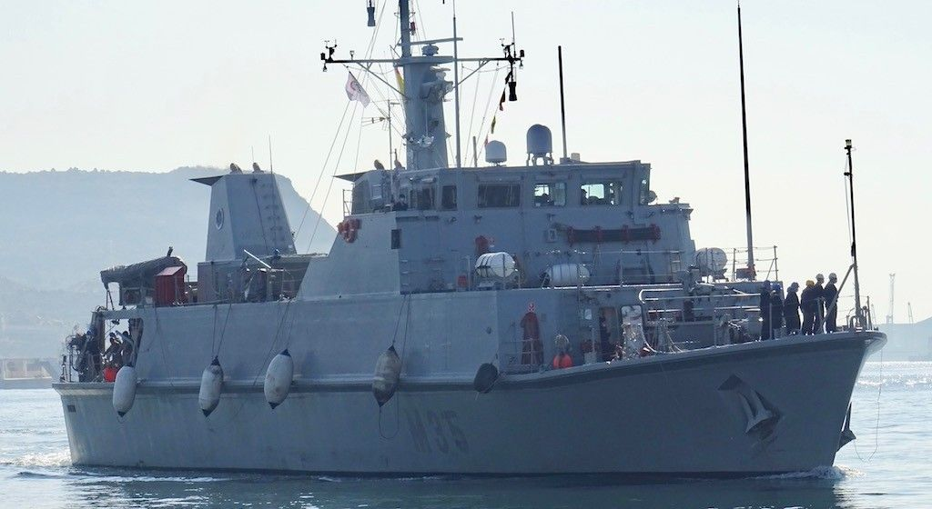 """El buque cazaminas """"Duero"""", a su llegada a Cartagena"""