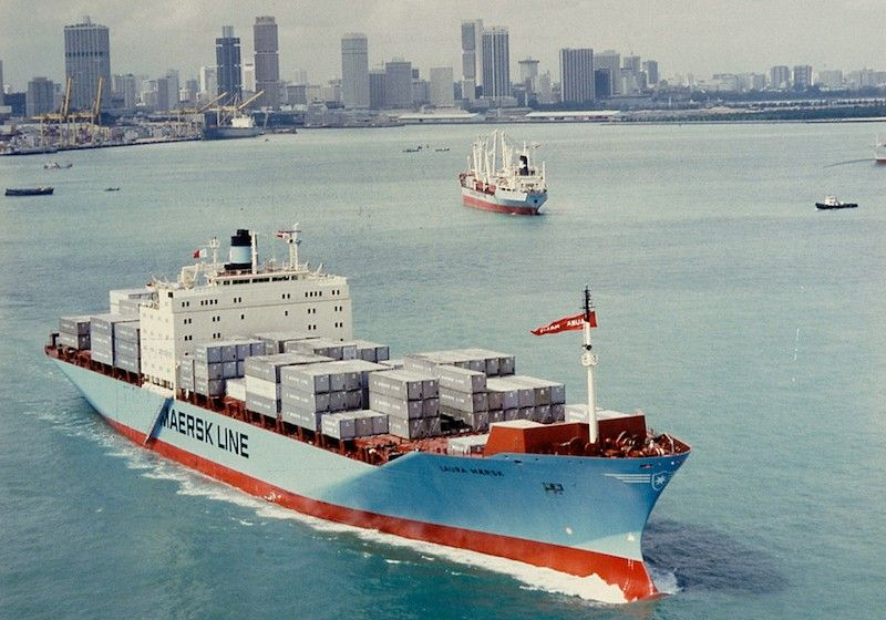 "Estampa marinera del buque ""Laura Maersk"""