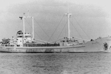 """Estampa marinera del buque frutero """"Glaciar Gris"""""""