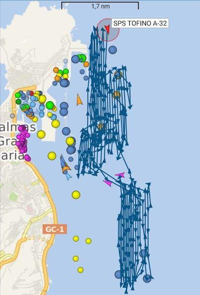 """Barrido realizado en las últimas horas por el buque """"Tofiño"""" en el antepuerto de Las Palmas de Gran Canaria"""